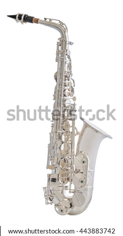 Silver Saxophone. Classical Music Wind Instrument Isolated on White Background - stock photo