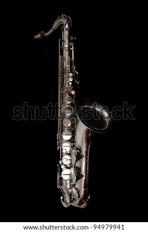 silver saxophone isolated on the white background - stock photo