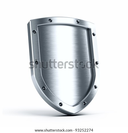 Silver shield - stock photo