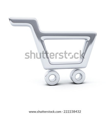 Silver shopping cart icon, 3d - stock photo