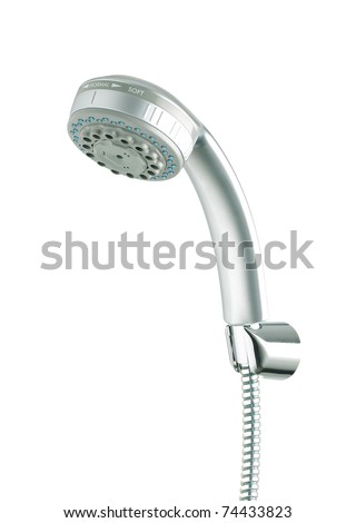 Silver shower head suit your bathroom isolated on white - stock photo
