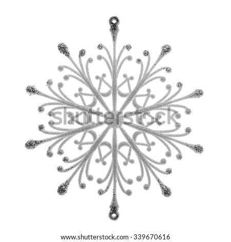 Silver snowflake isolated on a white background. - stock photo