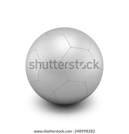 Silver soccer ball isolate on white background. 3d render image.