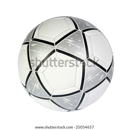 silver soccer ball on a white background