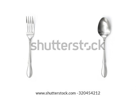 silver spoon and fork vertical alignment with center gap space isolated in white background - stock photo