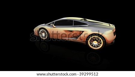 silver sports car - stock photo