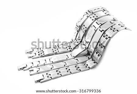 Silver stainless steel men's bracelet. On a white background