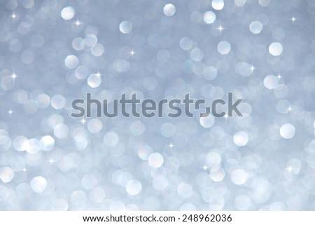 Silver Star Bokeh Background - stock photo