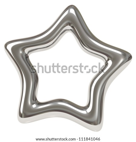 Silver star frame 3d - stock photo