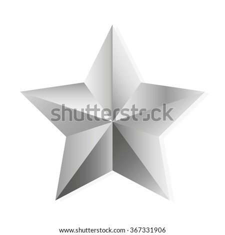 Silver star. illustration, isolated object on white background - stock photo