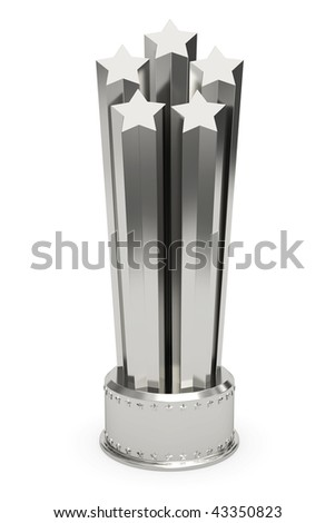 Silver stars prize on pedestal isolated on white. High resolution 3D image - stock photo