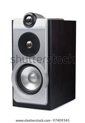 Silver stereo audio speaker isolated on white - stock photo
