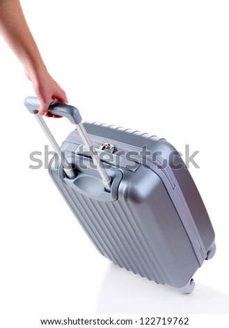 Silver suitcase isolated on white - stock photo