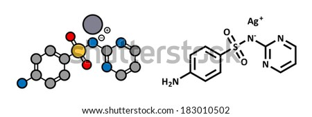 Silver sulfadiazine topical antibacterial drug molecule. Used in treatment of wounds and burns. Stylized 2D rendering and conventional skeletal formula. - stock photo