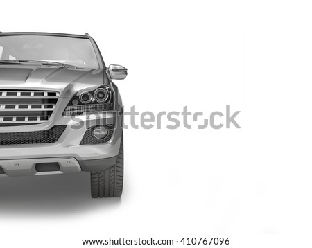 Silver Suv on white background, 3D illustration