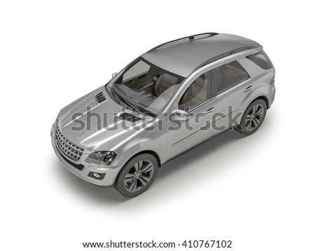 Silver Suv on white background, 3D illustration - stock photo