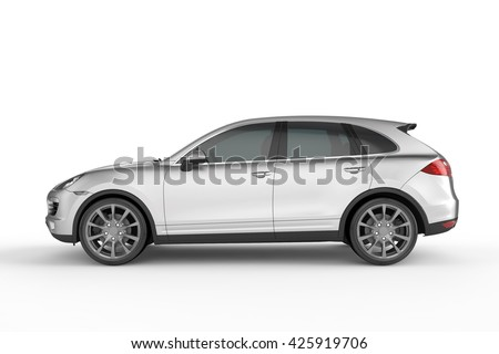 silver suv on white background 3d illustration