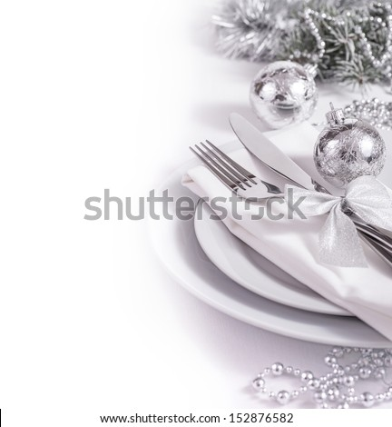 Silver table set for New Year - stock photo