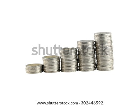 silver Thailand coins stack isolated on white background with clipping paths.
