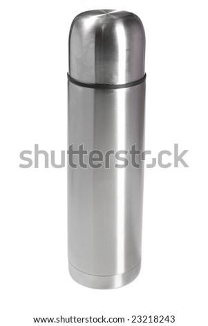 Silver thermos on white ground - stock photo