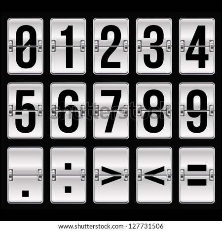silver timetable numbers on black - stock photo