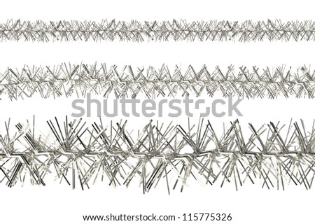 Silver tinsel samples isolated on a white background - stock photo