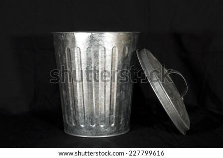 silver trashcan - stock photo