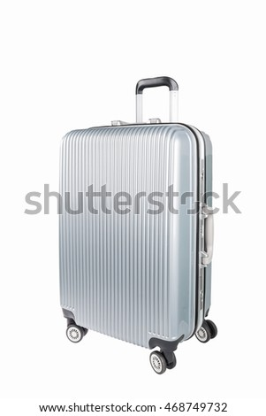 silver travel plastic suitcase and wheels  isolated on white with clipping path