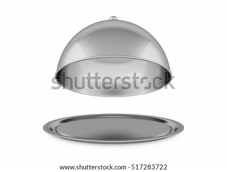 Silver tray. 3D rendering
