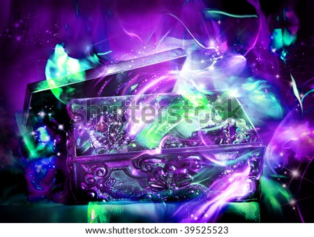 Silver Treasure chest - stock photo