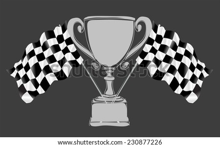 Silver Trophy and Flag