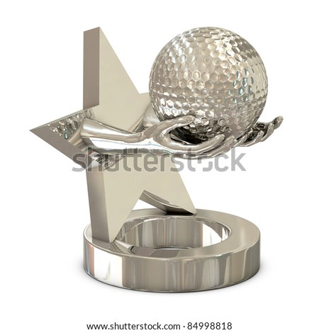 Silver trophy with star, hands and golf ball isolated on white background - stock photo