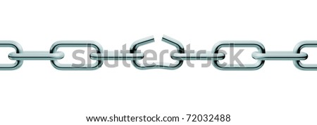 Silver unlink chain. Isolated on white background - stock photo