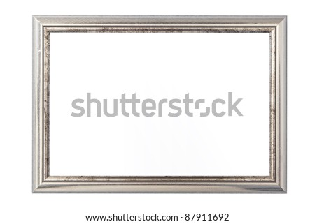 Silver vintage picture frame isolated on white - stock photo