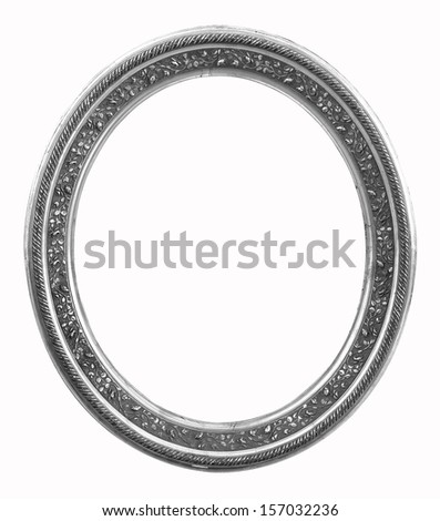 Silver vintage picture frame isolated on white background.
