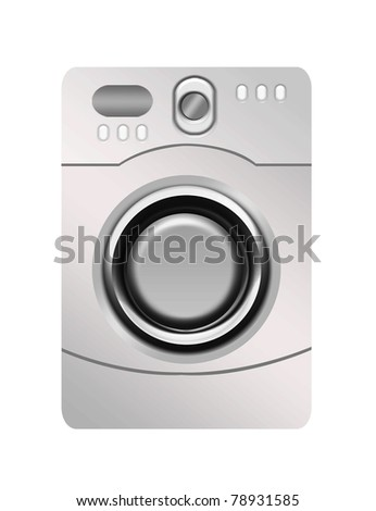 silver washing machine isolated over white background