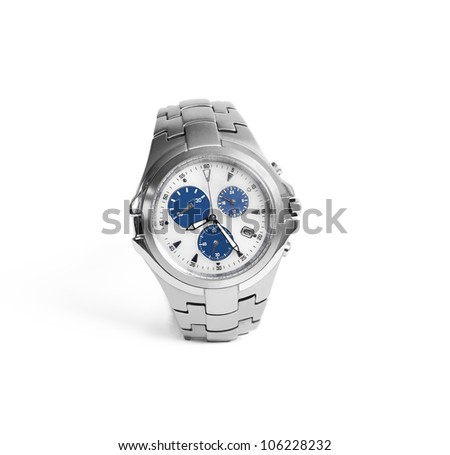 Silver watch made of stainless steel on white background, isolated object - stock photo