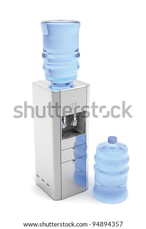 Silver water dispenser with bottles on white - stock photo