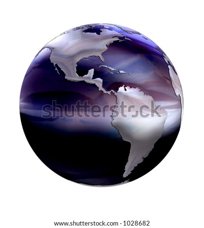 silver world earth map on marble globe on white background