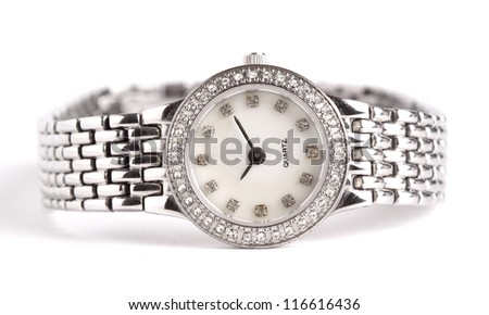 Silver wrist watch isolated on white background - stock photo