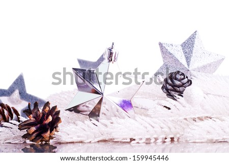 Silver xmas decoration with fur tree branch and place for text - stock photo