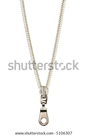 Silver zipper - stock photo