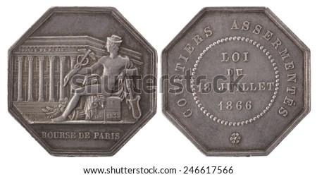 Silvers token, Hermes, Paris stockbrokers. France, Napoleon III (1852-1871), isolated on white - stock photo