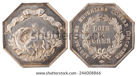 Silvers token, Insurance company fire department of Loir-et-Cher. Napoleon III. France, 1852-1871, isolated on white - stock photo