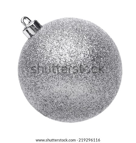Silvertmas ball isolated on white background - stock photo