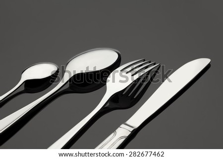 silverware fork, knife, spoon on table