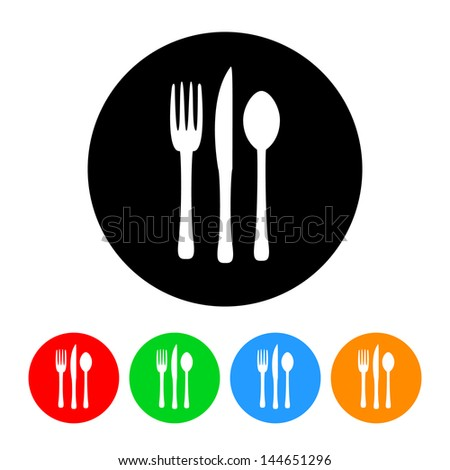 Silverware Icon with Color Variations.  Raster version, vector also available. - stock photo
