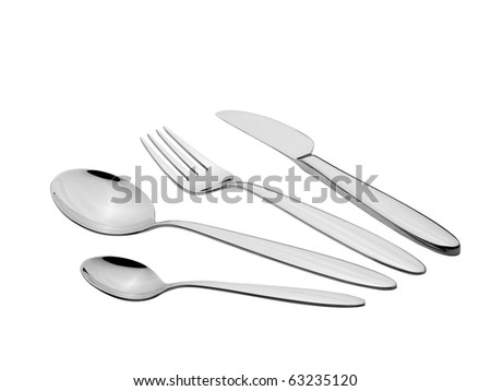 Silverware Set with Fork, Knife, and Spoons (Clipping Path) - stock photo