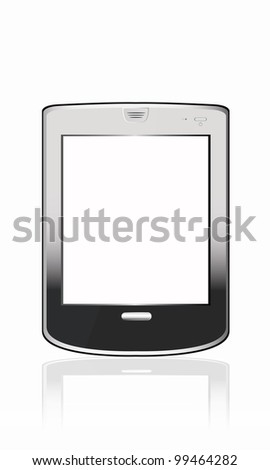 Silvery  abstract tablet pc on white background