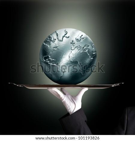 silvery globe green backround - stock photo